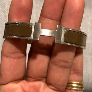 Silver and Brown Hermès Wide Clic Gm